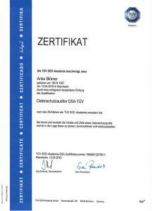 Zertifikat - Datenschutzauditor